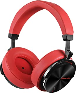 Bluedio T5S Bluetooth Headphones Over Ear with Mic, Active Noise Cancelling Headphones 57mm Drivers Wireless Headsets for Travel Work TV PC Cellphone, 25 Hours Playtime (Red)
