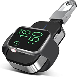 Portable Wireless Charger for Apple Watch, 1000mAh Magnetic Keychain Power Bank Watch Charger Travel with 4 LED Indicators Compatible for All Apple Watch Series 6 5 4 3 2 1 SE