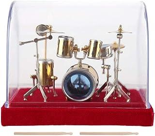 Miniature Musical Instrument Drum Set Model Display Mini Ornaments Craft Home Decor Antique Vintage Wooden Music Box Music...