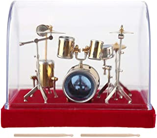Miniature Musical Instrument Drum Set Model Display Mini Ornaments Craft Home Decor Antique Vintage Wooden Music Box Musical Copper Model for Dolls House Action Figures Decoration Accessory (#01)