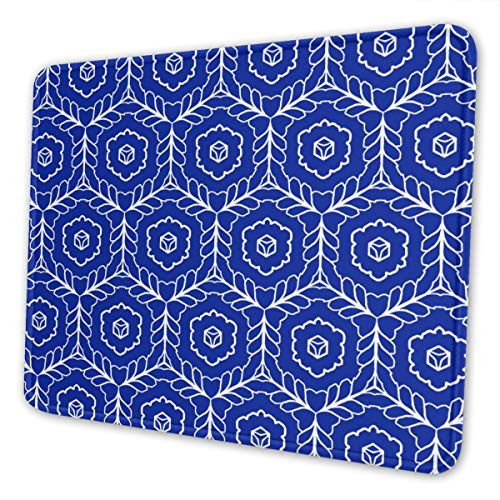Novelty Mouse Mat for Wireless Mouse Travel Gaming, 10.3x8.3in Abstract Hexagon Flowers Blue No Wrinkle Mouse Pad with Stitched Edge, Anti Slip Gaming Mouse Pad