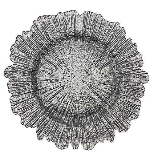 Urquid Linen, Reef Glass 13' Charger Plate, Set Of 4, Use for Elegant Wedding Décor, Luxe Dinner Parties and Special Events, and Any Elegant Occassion (Silver)