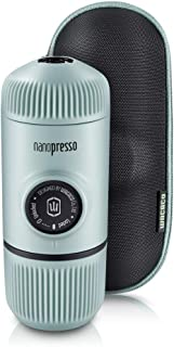 Wacaco Nanopresso Portable Espresso Maker Bundled with Protective Case, Upgrade Version of Minipresso, Mini Travel Coffee Machine, Perfect for Camping, Travel and Office(New Elements Arctic Blue)