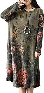 BUYKUD レディース ワンピース 綿麻 花柄 長袖 プリント ロングワンピース おしゃれ 体型カバー ゆったり カジュアル ドレス