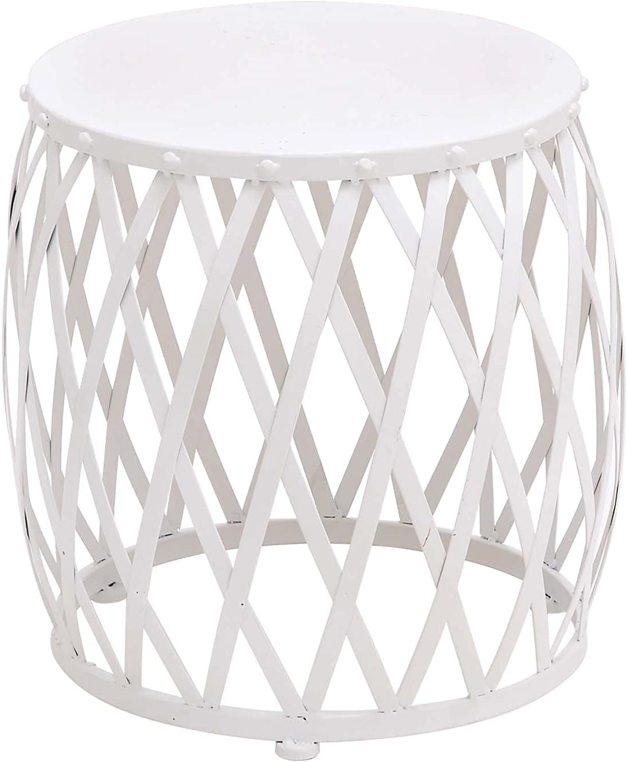 Benzara The Angelic Metal Accent Table, 19 by 19 by 19-Inch, Off-White