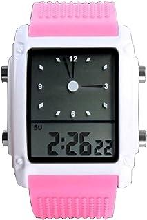 Girls Cute Pink Led Digital Sport Watch Dual Time Zone Analog Silicone Wristwatch Nice New Women`s Watch