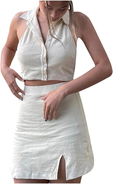 Women Button Front Two Piece Outfits Slim Pencil Dress - Body Contour Dresses for Women - Drees for Womens - Vestidos Largos De Verano para Mujer - Vestidos De Mujer Elegantes Largos para Fiesta