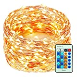 99 Feet 300 LED Copper Wire Christmas String Lights Dimmable with Remote Control, Decute Fairy Starry Lights with UL Cerficated Decorative for Party Wedding Bedroom Christmas Tree, Warm White