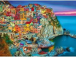 Magicfun Puzzle de 1000 Pièces- Maisons colorées dans Le Village de pêcheurs Italien, Casse-tête de Bricolage avec...