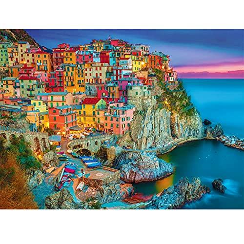 Magicfun Puzzle de 1000 Pièces- Maisons colorées dans Le Village de pêcheurs Italien, Casse-tête de Bricolage avec Impression Haute Définition pour Enfants Adultes. (70x 50 cm)