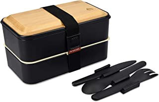 Navaris Bento Box - Stackable Japanese Style Lunch Box with 3 Piece Cutlery Set and Bamboo Lid for On The Go, Meal Prep, Snack Packing - Black, 41 oz