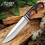 Timber Wolf Peruvian Fixed Blade Knife with Sheath - 3Cr13 Stainless Steel Blade, Wooden Handle, Stainless Steel Guard - Length 10 3/4'