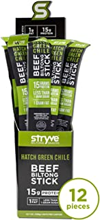 Stryve Biltong | Healthy Keto & Paleo Friendly Air-Dried Beef Snack Sticks | 50% More Protein than Beef Jerky, Gluten Free, Low Carb, Sugar Free, No Nitrates or MSG | Hatch Green Chile, 12-Pack
