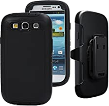 Auker S3 Clip Case,Galaxy S3 Case, Defender Series Shockproof Water Impact Resistant Anti-Slip Tough Rubber Rugged Holster Case with Belt Swivel Clip&Screen Protector for Samsung Galaxy S3 (Black)