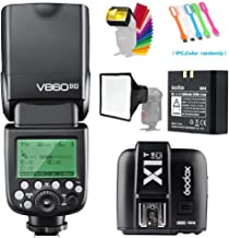 GODOX V860II-C E-TTL High-Speed Sync 1/8000s 2.4G GN60 Li-ion Battery Camera Flash Speedlite with X1T-C Wireless Trigger Transmitter Compatible for Canon Cameras &15x17cm Softbox &Filter &USB Light