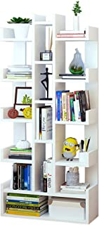 TZAMLI book shelf 6-layer multi-function storage shelf bookcase large-capacity storage bookshelf can be placed book record green plant suitable for study living room office(White)