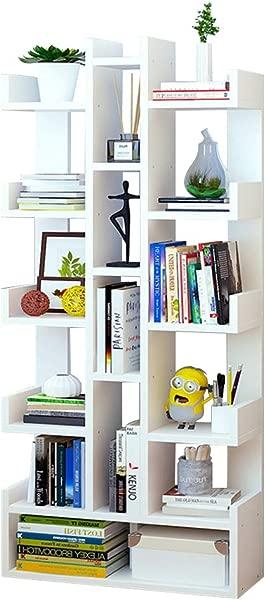 TZAMLI 月层多功能收纳置物架书架书柜大容量收纳书架可放书纪绿植物适合书房客厅办公室白
