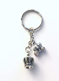 CLEARANCE SALE - 45% OFF - Princess Key Chain, Fairytale Carriage Keychain, Silver Crown Keyring, Gift for Teenage Girl Daughter Present, Drama Queen Keyring, Tiara Royalty Present