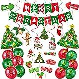 Globos de Navidad y equipo de fotos, juego de globos decorativos y carteles de Navidad, accesorios para Navidad, para fiestas de Navidad en casa y oficina, rojo/verde, 48 unidades