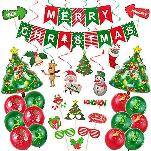 Weihnachten Luftballons Und Fotorequisiten Set, Deko Ballons Set Und Weihnachten Banner, Weihnachten Photo Booth Requisiten Für Weihnachtsfeier Zuhause Und Bür, Rot/Grün, 48 PCS/Set