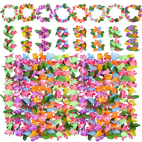 Cooraby 8 Set Hawaiian Leis Tropical Hawaiian Garlands with 16 Bracelets 8 Headbands and 8 Necklaces for Luau Party Supplies