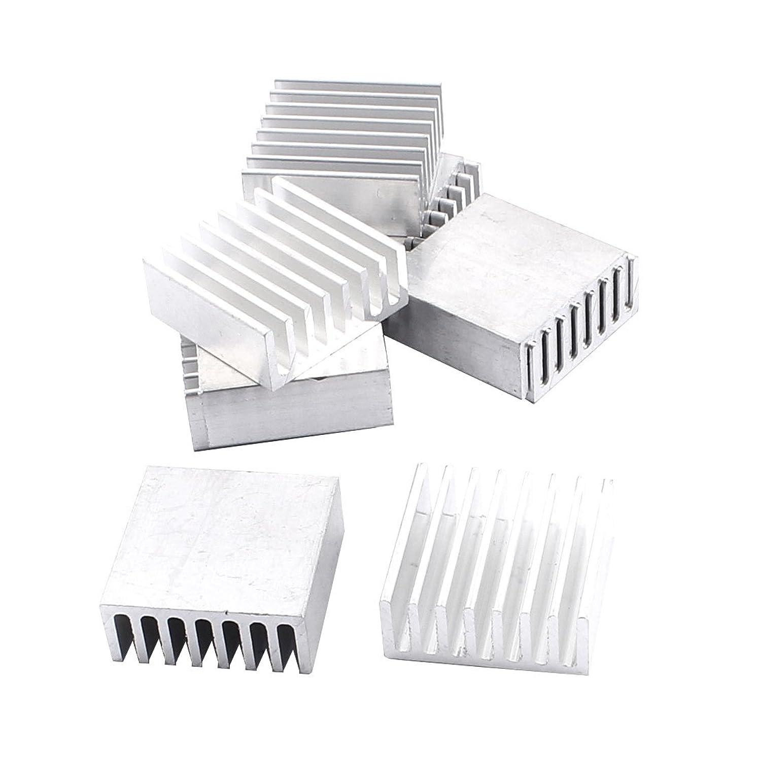 Uxcell a16012800ux0575 Aluminium Heatsink Heat Sink Radiator Fin 25x25x10 mm 10pcs Silver Tone (Pack of 10)