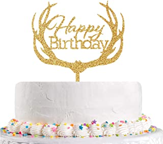 Happy Birthday Cake Topper - Gold Baby Happy 1st Birthday Party Supplies Acrylic Antler Shape Birthday Cake Decoration