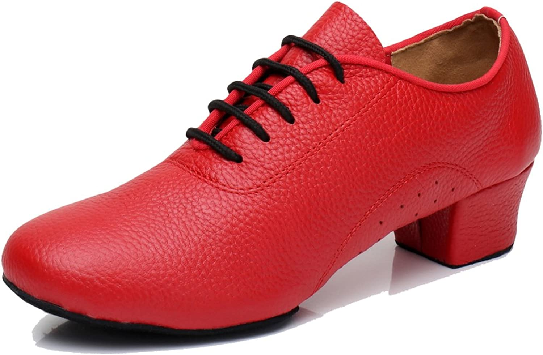 TDA Women's Classic Lace-up Leather Ballroom Salsa Tango Samba Rumba Modern Latin Dance shoes