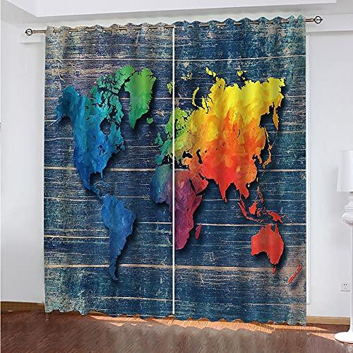 SKLHSIL Cortina Opaca Dormitorio,Térmicas Aislantes con Ojales Moderna Mapa De Colores 3D Impresión Patrones Cortina 300X280Cm,para Habitación Cocina Sala Estar Decoración (2 Paneles)