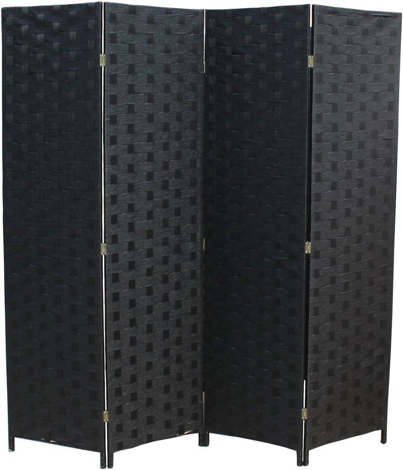 4 Panel Folding Wooden Omaha Mall Screen Room Desig Woven Wood Max 77% OFF Mesh Divider