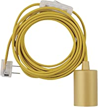 Globe Electric 69998 Emile 1-Light Plug-In Exposed Pendant, 15-ft Yellow Cloth Cord,..