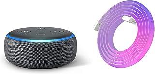 Echo Dot 第3世代 - スマートスピーカー with Alexa、チャコール + Yeelight (イーライト) LEDテープライト 本体 (2m) マルチカラー