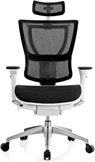 "Eurotech Seating iOO Collection Executive Chair with Headrest Dimensions: 26"" W x 26"" D x 46-53.6"" H Seat Dimensions: 19.7"" Wx15.5-17"" Dx20-23.6"" H Black Mesh/White Frame"
