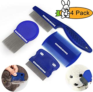 GNAWRISHING Flea Comb 4Pcs with High Strength Teeth Durable Pet Tear Stain Remover Combs, Pet Dog Cat Grooming Comb Set Effective Float Hair Remover…