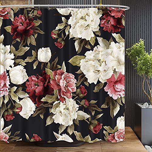 Riyidecor Watercolor Black Floral Shower Curtain Rustic Flowers Rose Girl Retro Leaves Blossom Peony Woman Waterproof Fabric Bathroom Home Decor Set 12 Pack Plastic Hooks 72Wx72H Inch WW-KRGG
