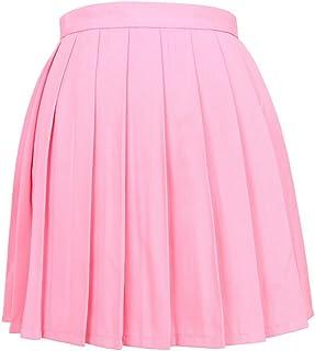 ZUMUii Butterme Mujeres Beil?ufige Alto Entallada de Plegado Cosplay Disfraces Faldas Uniforme de la Escuela de a Line Mini Vestido Rosa Rosa XXX-Large