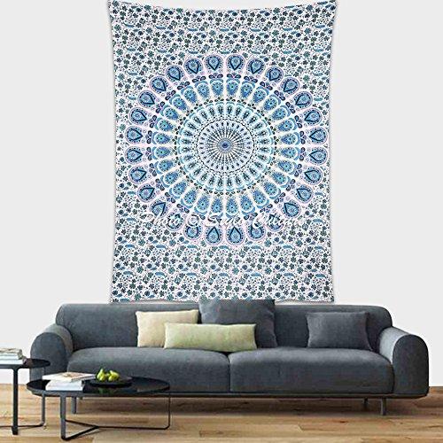 Stylo Culture Mandala Indien Tapisserie Tenture Murale Bleu Paon Plume Décoration Murale Suspendue Pique-Nique Lancer Unique Imprimé Mandala Décoration Murale