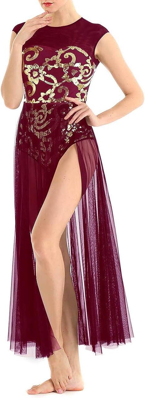 ACSUSS Womens Adult Sequins Ballet Dance Max 88% OFF M Atlanta Mall Leotard Dress Lyrical