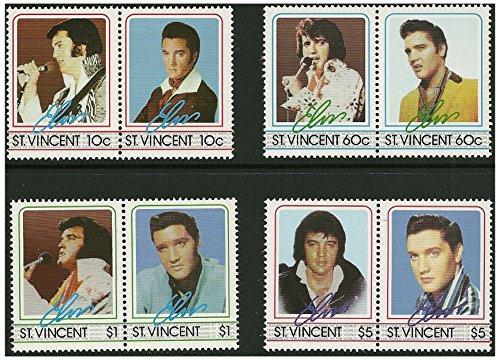 Elvis Presley coppie di bollo - 8 francobolli in 4 coppie emesse nel 1985 St Vincent / Mint e smontato