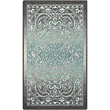 Maples Rugs Kitchen Rug - Pelham 1'8 x 2'10 Non Skid Small Accent Throw Rugs [Made in USA] for Entryway and Bedroom, Grey/Blue