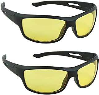 Dervin Unisex Wrap Sunglasses (Yellow, Pack of 2)