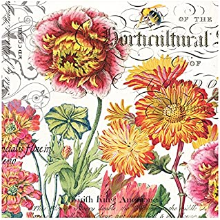 Michel Design Works 20-Count 3-Ply Paper Cocktail Napkins, Blooms and Bees