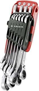 Facom 467B. JP10 Ratchet Combination Spanner Metric with Imperial Set, Silver, Set of 10 Pieces