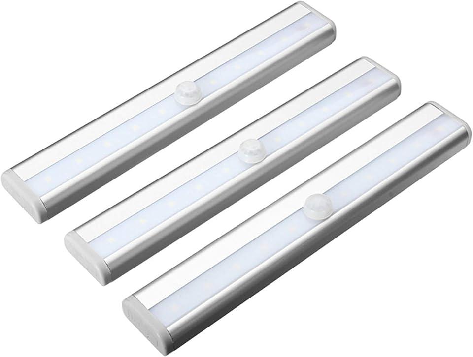 Intckwan Schrankbeleuchtung mit Bewegungsmelder,3 Stück LED Bewegungsmelder Schrankleuchten,Stick auf überall Wireless 10 LED Schrankbeleuchtung mit Magnetstreifen für Innen außen Schrank Küche