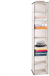 MaidMAX 8 Tiers Cloth Hanging Shelf for Closet Organizer with a Widen Strap, Foldable, Beige, 52 Inches High