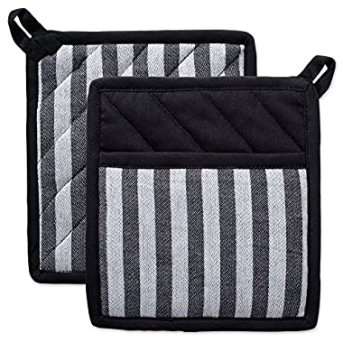 DII Cotton Heat Resistant Kitchen Pot Holders Set Farmhouse Chic Geometric Design, Machine Washable for Every Home, (8x8.5-Set of 2), Stripe
