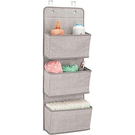mDesign étagère de rangement à suspendre – organiseur d'armoire pour chambre de bébé à 3 compartiments pour peluches, couches et serviettes - support d'organisation – couleur: lin