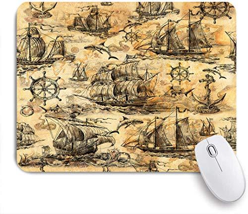 QINCO Gaming Mouse Pad Rutschfeste Gummibasis,Vintage Marine alte Segelboote Haie Lenkräder sparen Kreise und altes Papier,für Computer Laptop Office Desk,240 x 200mm
