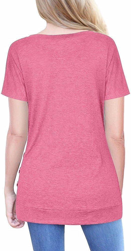 Sinzelimin Women Short Sleeve Loose Button Trim Blouse Solid Color Crewneck T-Shirt Tunic Tops Long Blouses