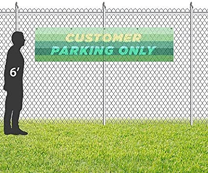 Customer Parking Only 16x4 Modern Gradient Wind-Resistant Outdoor Mesh Vinyl Banner CGSignLab